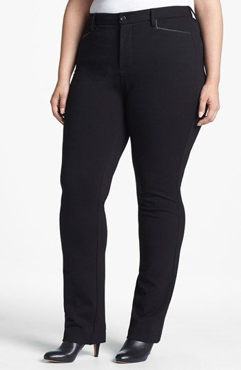 68b43c130ea NYDJ Faux Leather Trim Ponte Pants (Plus Size) available at  Nordstrom