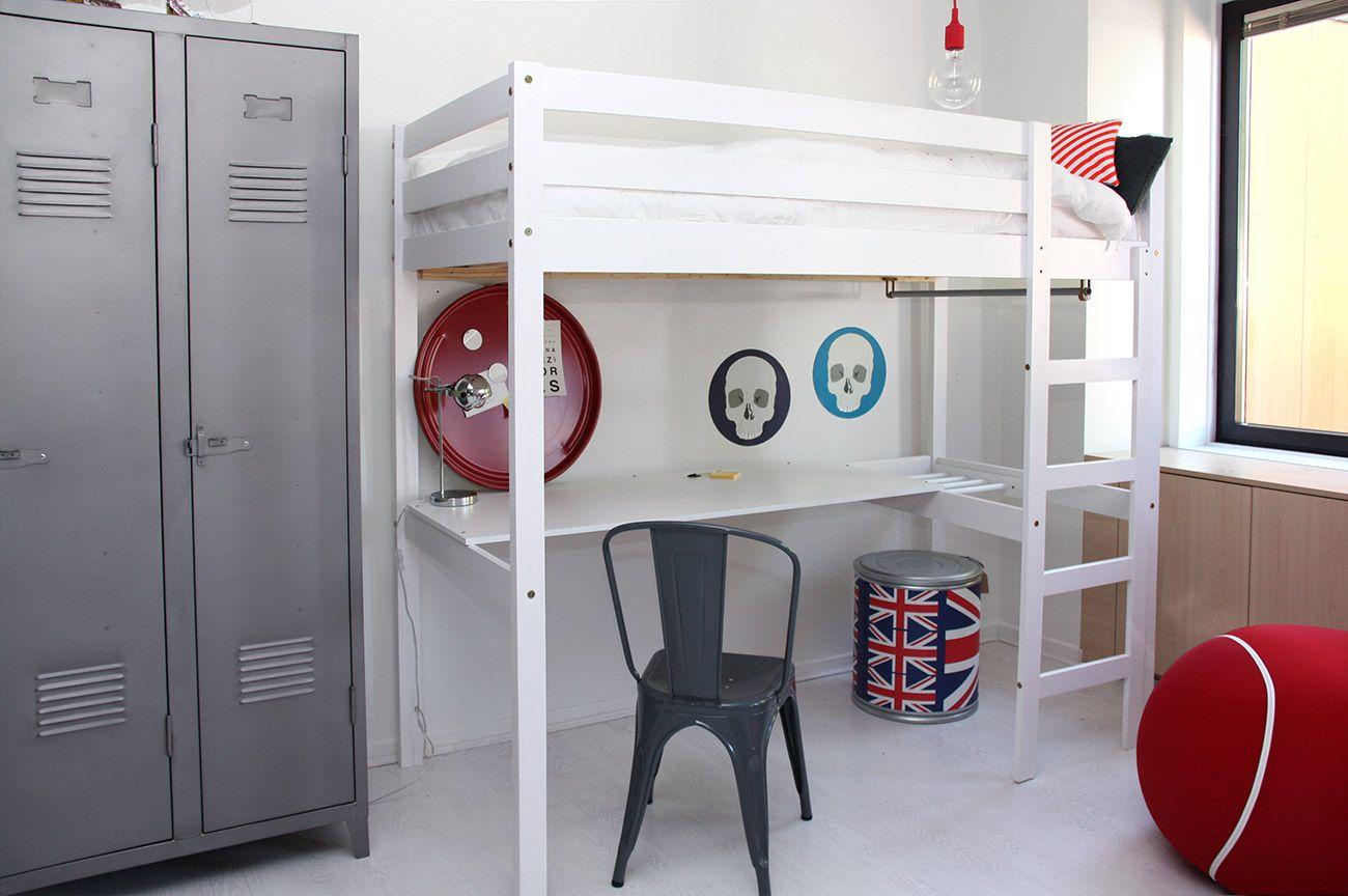 Lit mezzanine stripy avec bureau lit gain de place lits