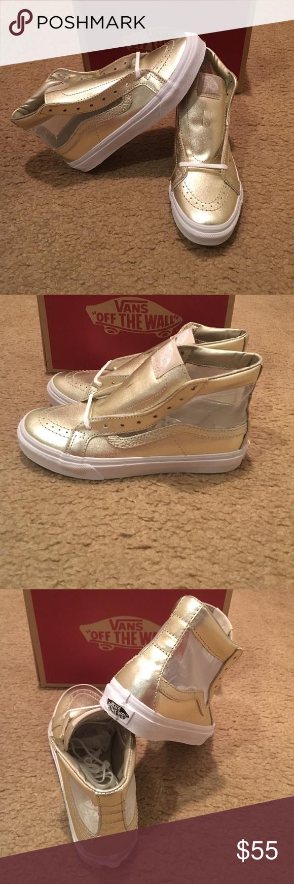36115bf54f83c6 Mesh Metallic SK8Hi Slim Cutout Vans New in box. Wheat Gold true White Vans  Shoes Sneakers