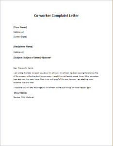 Complaint Letter About CoWorker Or Colleague Download At Http