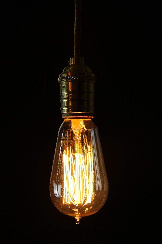 Thomas edison light bulb long style - compliments copper pans and ... for Incandescent Light Bulb Thomas Edison  35fsj