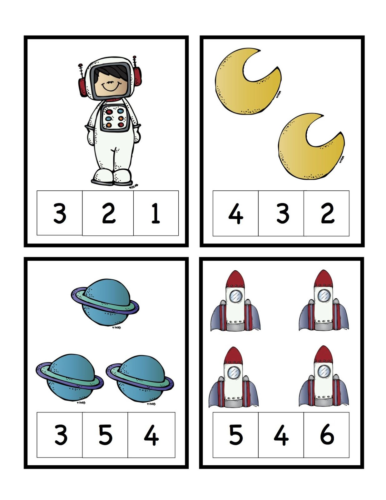 preschool printables rocket to the moon number cards proyecto
