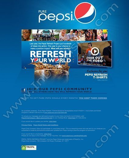 Company Pepsi Subject Pure Pepsi Exclusive Enter for a Chance - company newsletter