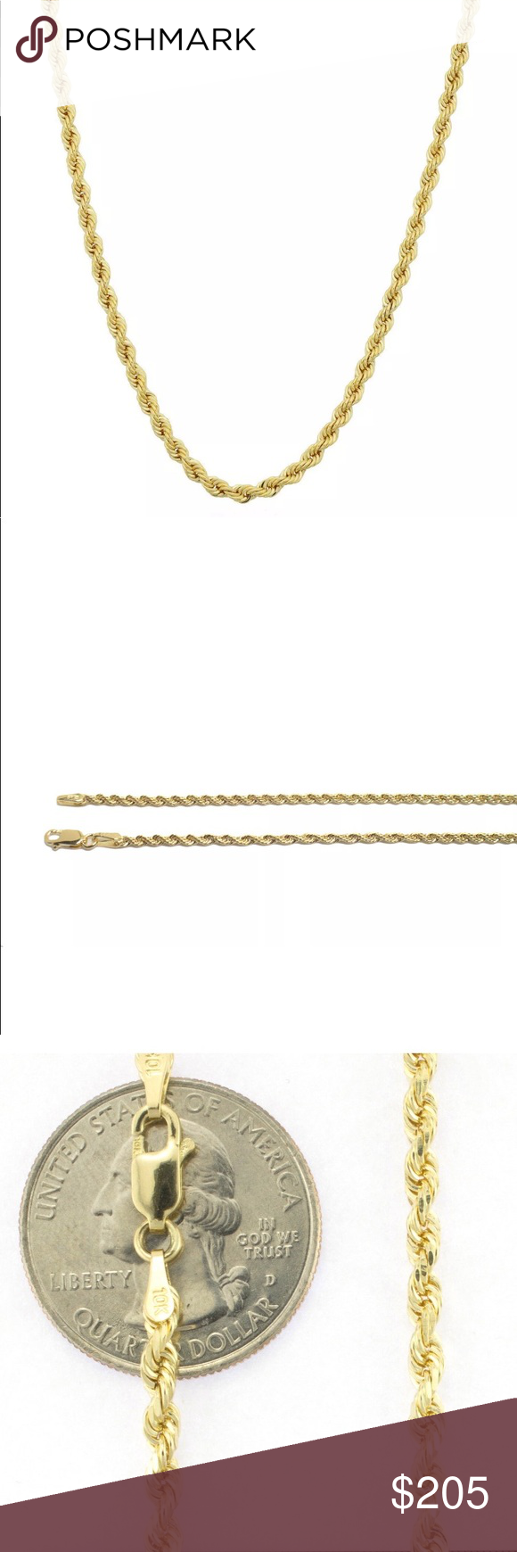 New Real Genuine Gold Rope Chain 2mm 24 Long Gold Rope Chains Mens Accessories Jewelry Rope Chain