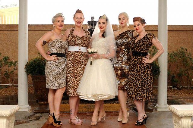 Vintage Las Vegas Leopard Wedding Printed Bridesmaid Dresses