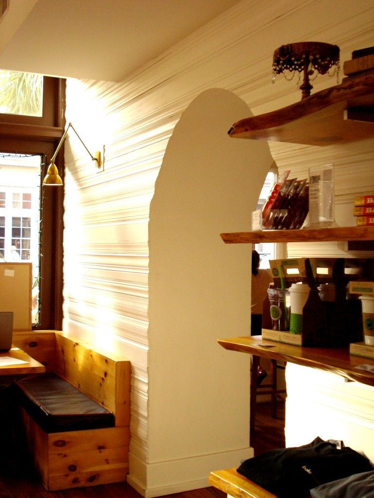 Layered molding & raw wood booth- #love.textures   Design Obsession ...