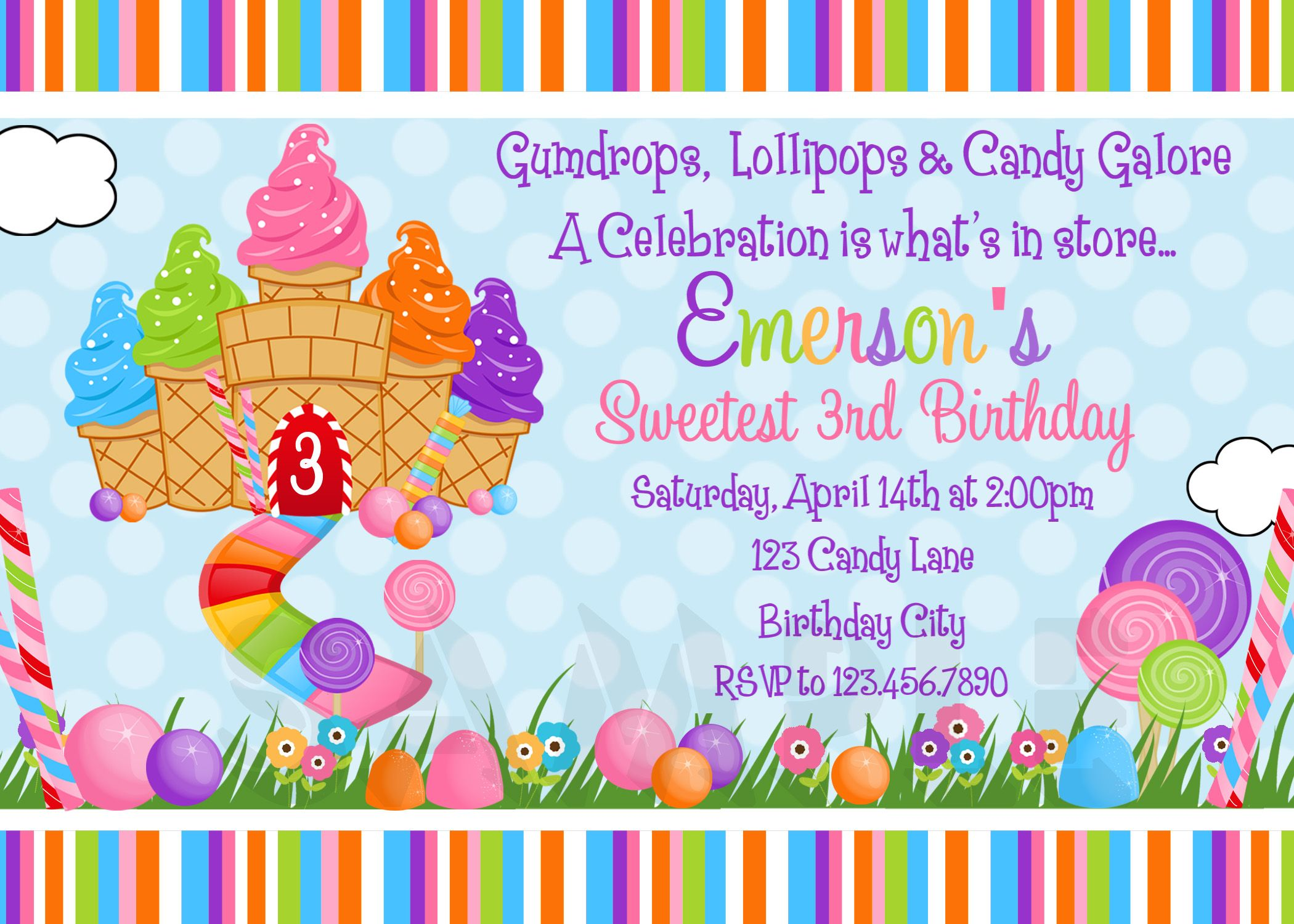 Candyland Party Printable Birthday Invitations Girls Candyland Party Candyland Invitations Candyland Birthday Candy Land Birthday Party