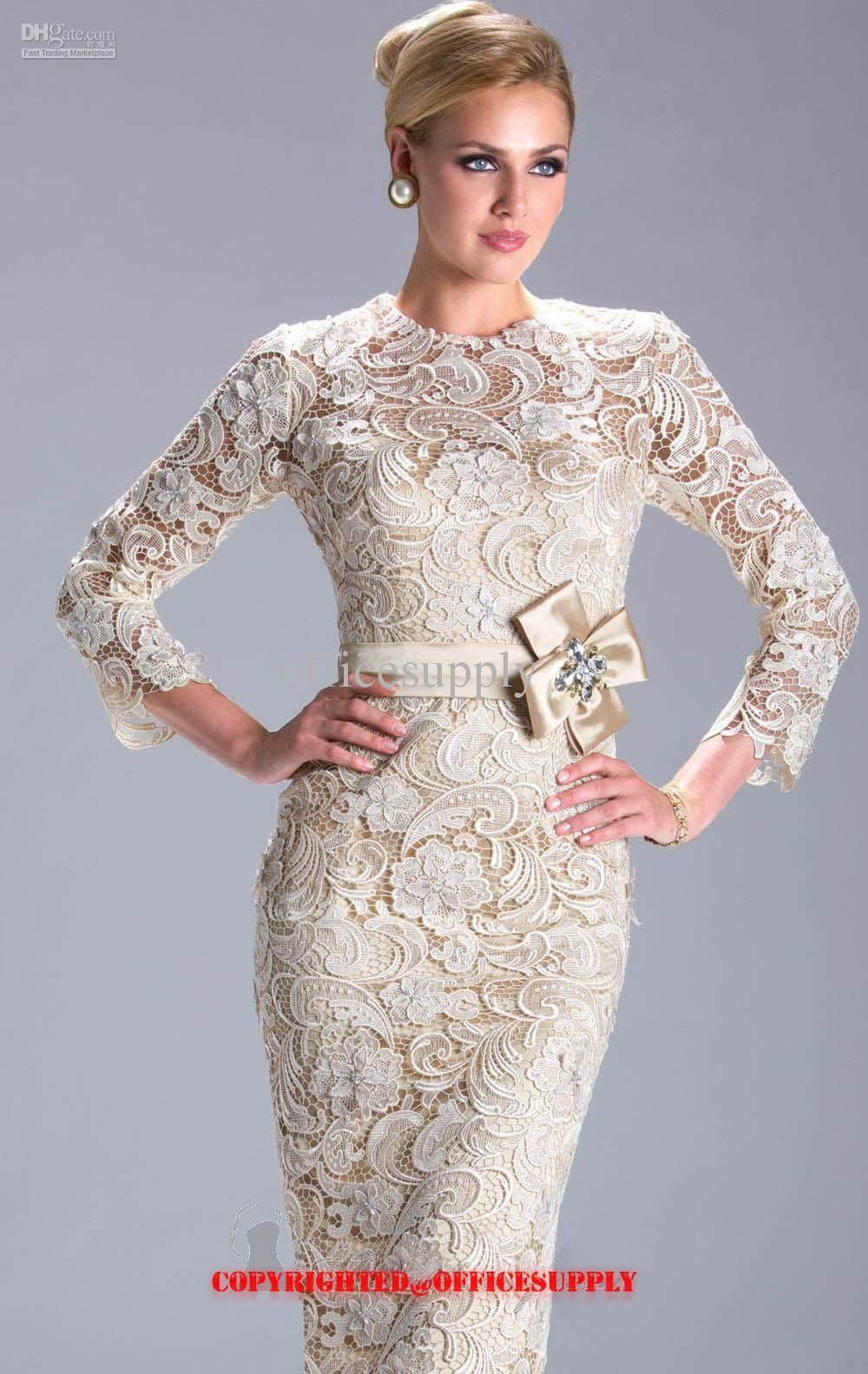 Wholesale Champagne Long Sleeved Knee Length Lace Evening Dress Mother of the Bride Gown with Band N3396, Free shipping, $100.8-119.84/Piece   DHgate