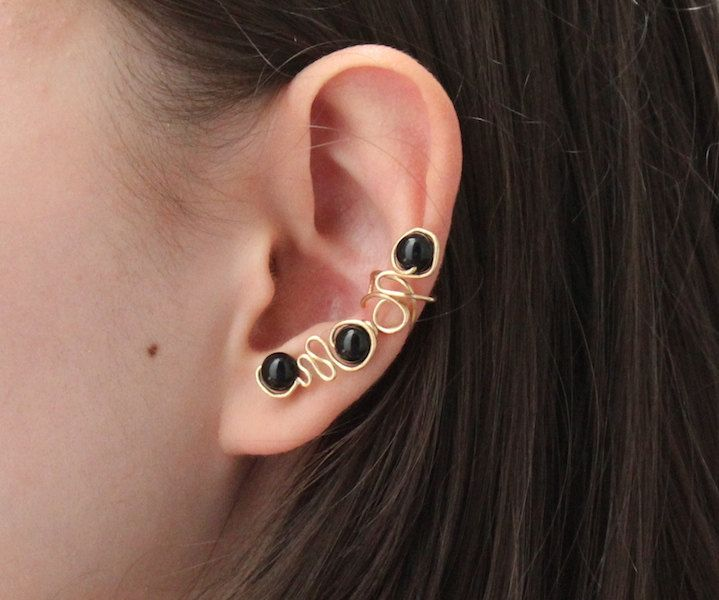 Onyx Ear Cuff Base Boho Chic Chakra Jewelry Brass Wire Trendy Black Gemstone Earring Handmade Gold Wirework Leo Protection Strength Success - pinned by pin4etsy.com