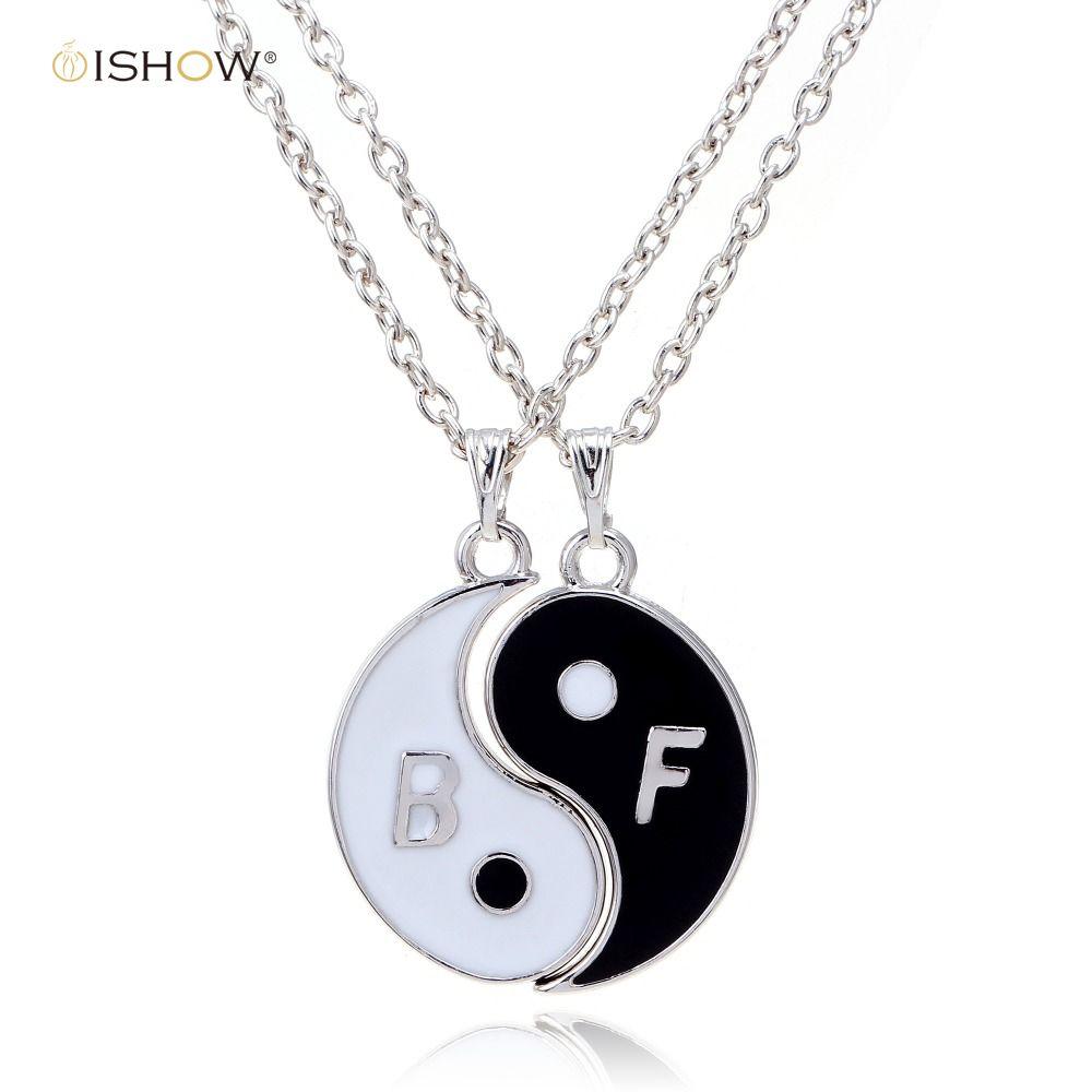 Yin yang pendant necklace women black white bf necklace best friends
