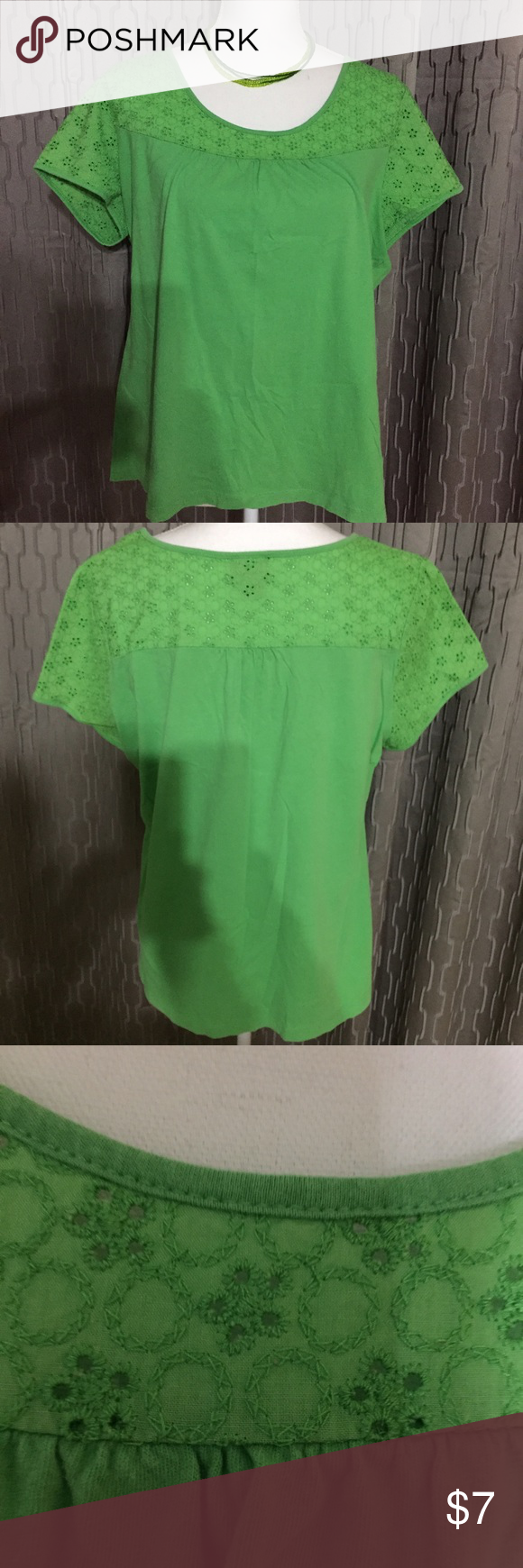 Gorgeous Green Blouse I just love this color green, Blouse 👚 it goes great with jeans 👖 in great condition, it's  💯% cotton. Classic Elements Tops Blouses