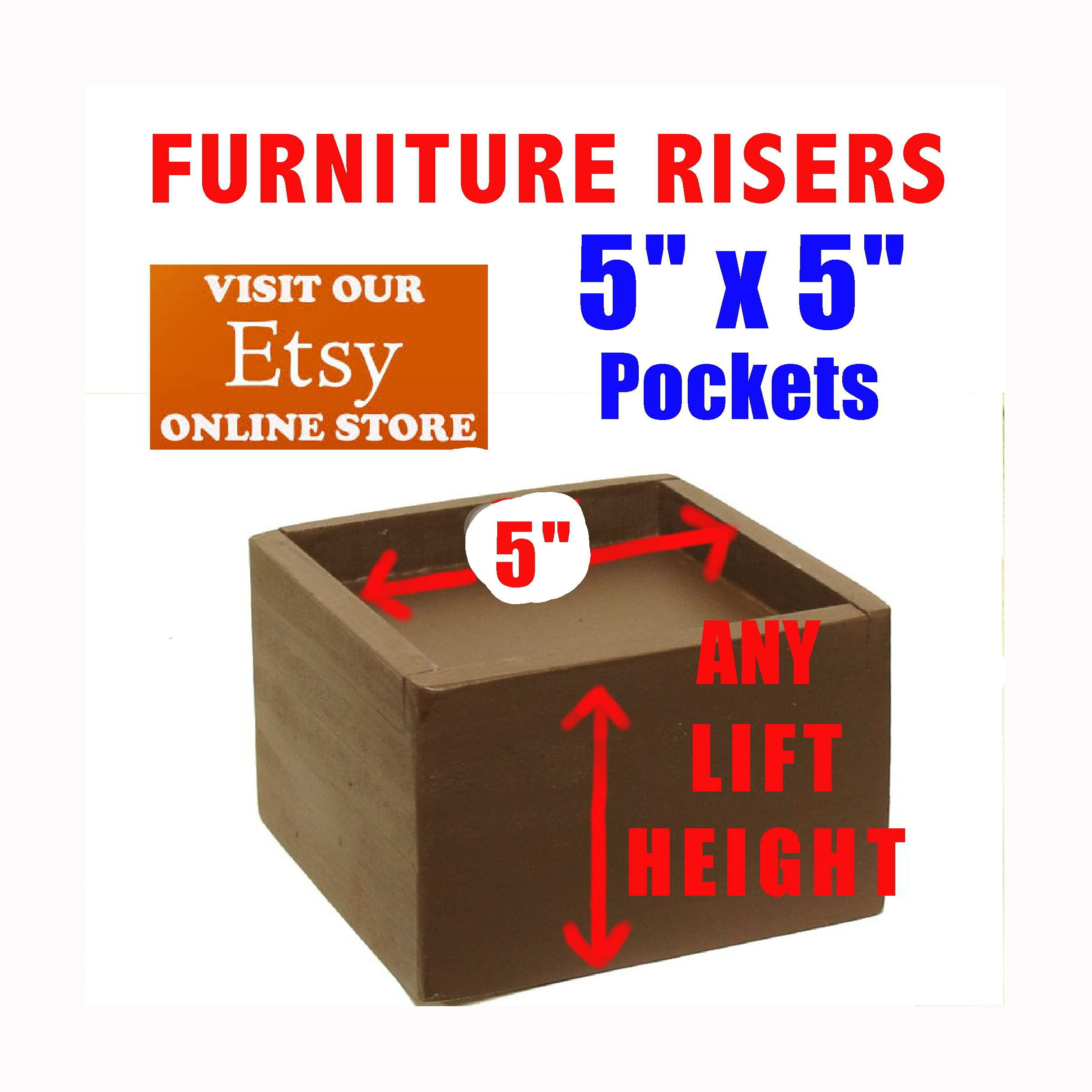 "5"" x 5"" Pocket Furniture and Bed Risers Furniture"
