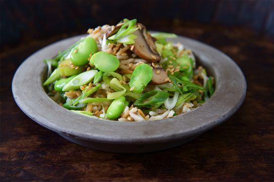sesame toasted basmati rice and broad bean salad.