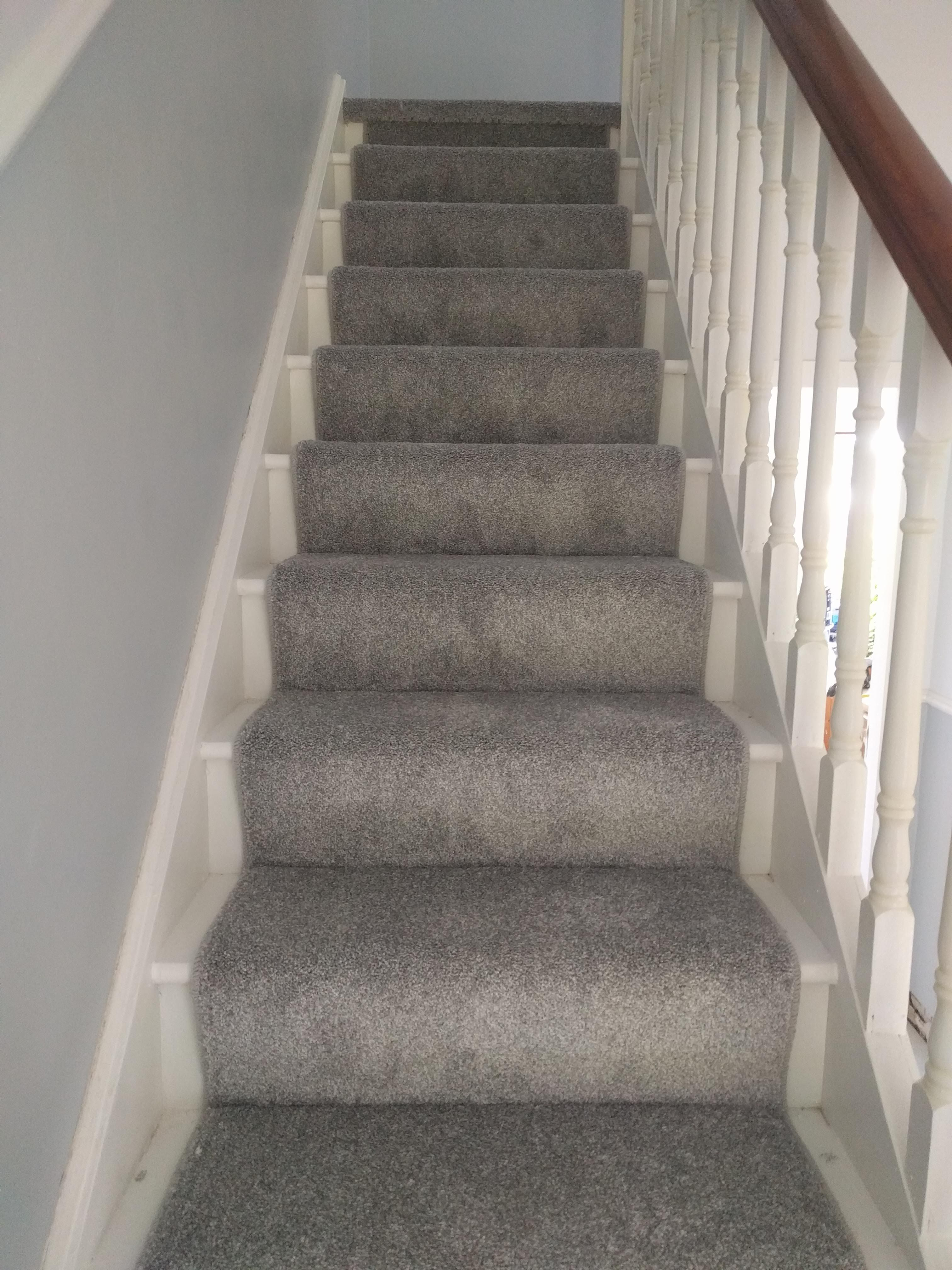 Stairs And Landing Completed With Carpet Stairs Runner In Light | Gray Carpet On Stairs | Contemporary | Geometric | Design | Grey Pattern | Farmhouse