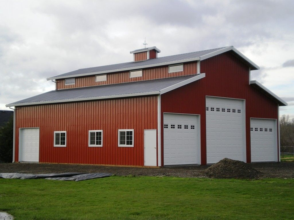 Pole barn workshop 48 39 x72 39 monitor style building for Barn style garage plans for free