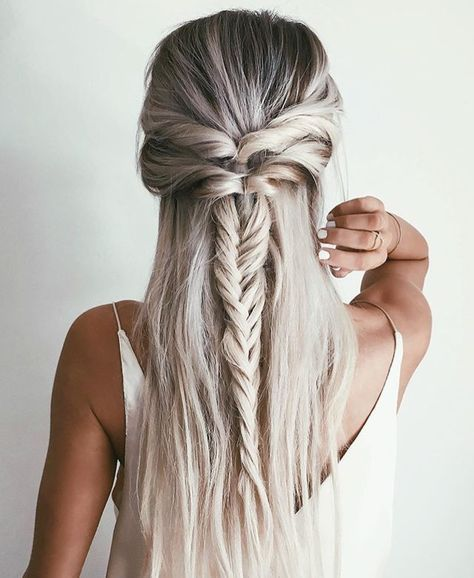 Fun Casual Half Up With Twists And Fishtail Braid Long Hair Styles Hair Styles Medium Hair Styles