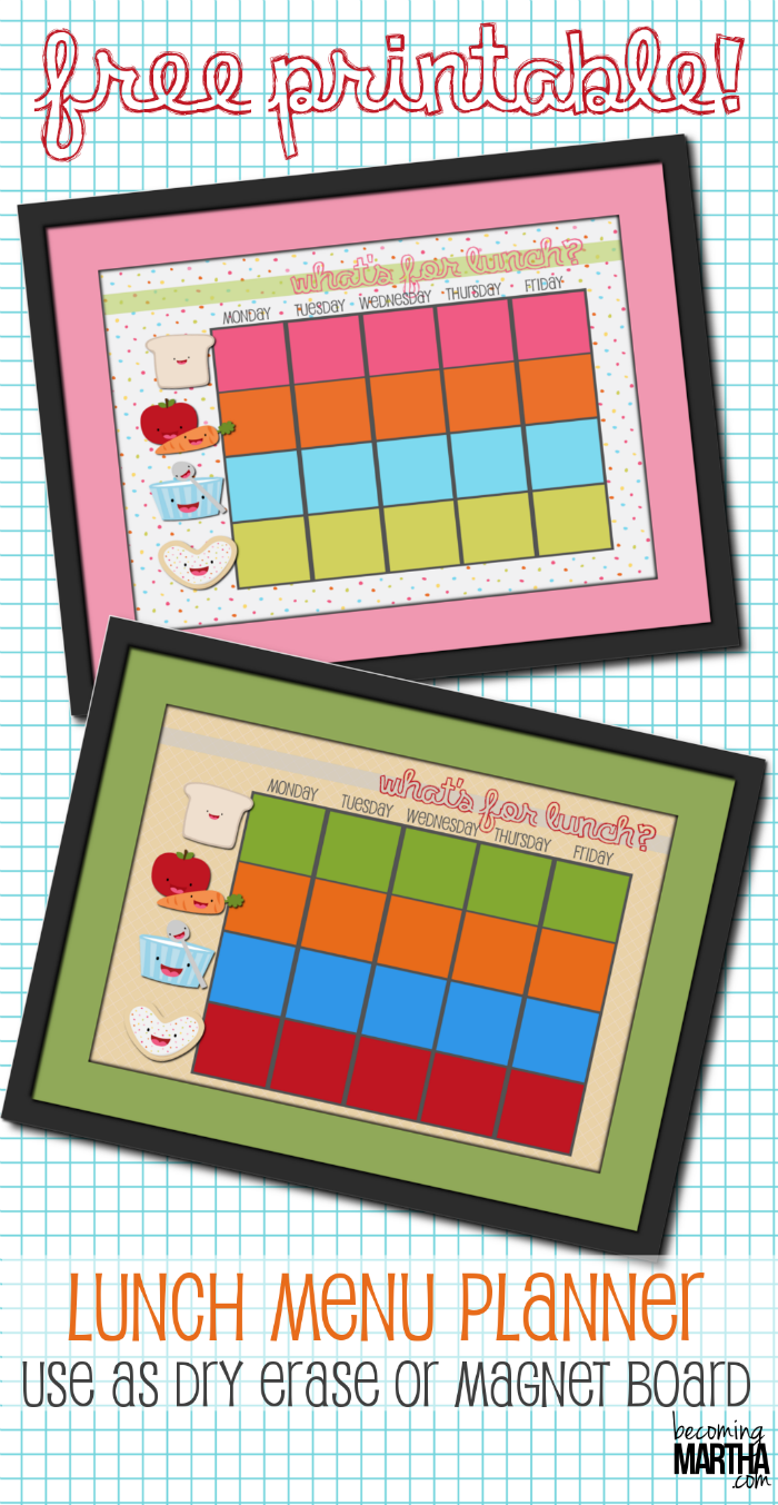 free printable school lunch menu template