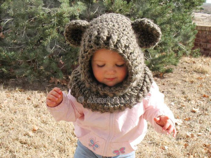 7f717fc033f Crochet Cowl with Ears - Crochet Pattern 120 - Hooded Cowl Crochet Pattern  - Wolf Cowl - Fox - Cat - Bear - Animals Hat Winter Neck Warmer by  AlenasDesign