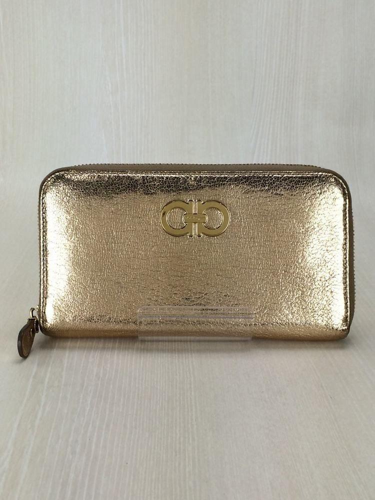 Salvatore Ferragamo Wallet Gancino Bifold Long Gold Color
