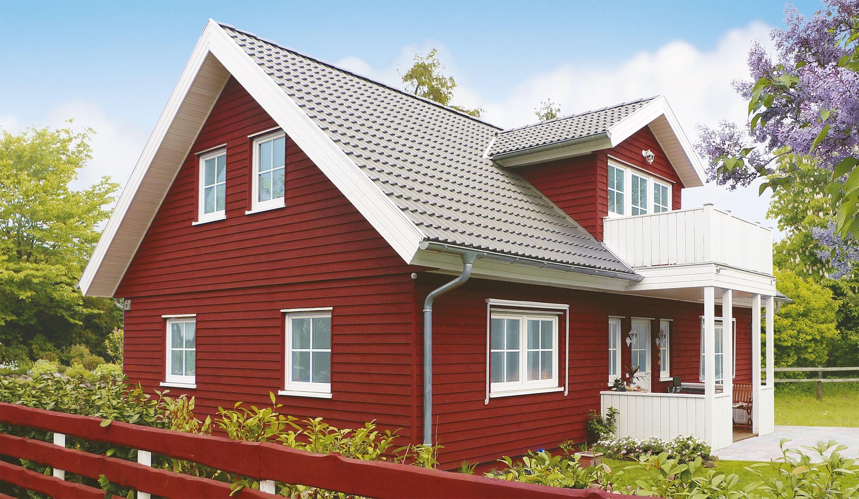 Schwedenhaus fertighaus veranda  Danhaus Fertighaus Holzhaus Schwedenhaus Amrum-L mit Gaube, Balkon ...