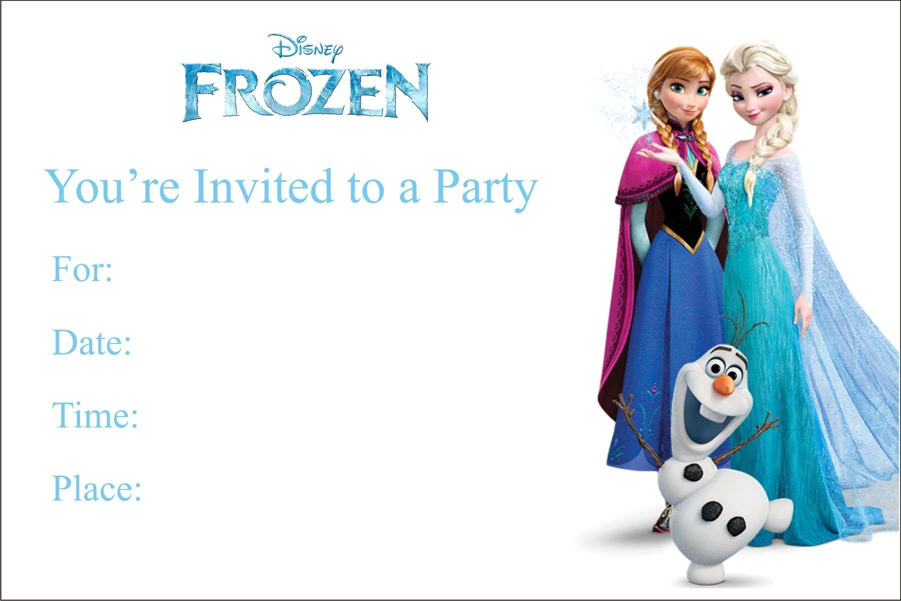 Free Blank Printable Frozen Birthday Invitations UK  Frozen