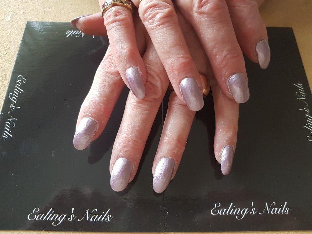 Acrylic infills with purple nail polish | Acrylic Nails | Pinterest ...