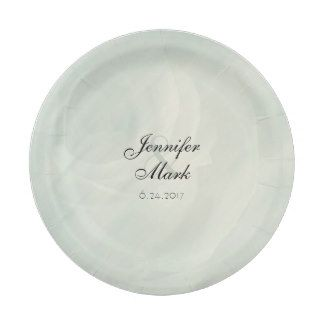 Pastel Turquoise Vintage Rose Wedding Plates 7 Inch Paper Plate ...