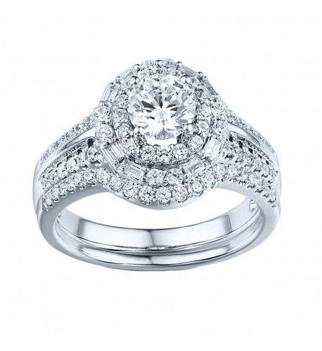 1 Carat Round Halo Engagement Ring And Matching Wedding Band