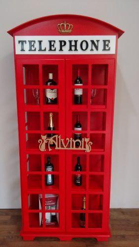 cristaleira 2 portas cabine telefônica de londres vermelha