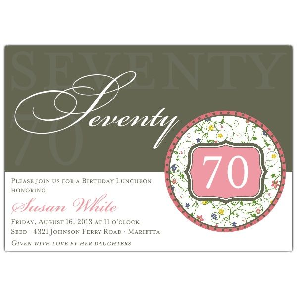 flirty floral 70th birthday invitations | nana's birthday, Birthday invitations