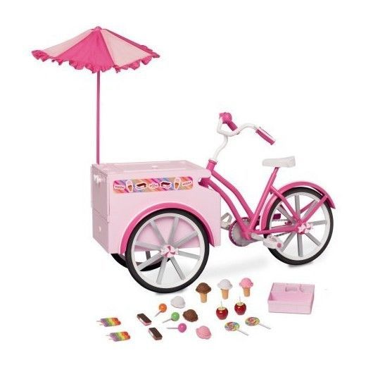 My Life As Treat Cycle For 18 Dolls Ice Cream Candy Stand Bicycle For Big Doll Generic Barbie Doll Set Baby Doll Strollers American Girl Doll Diy