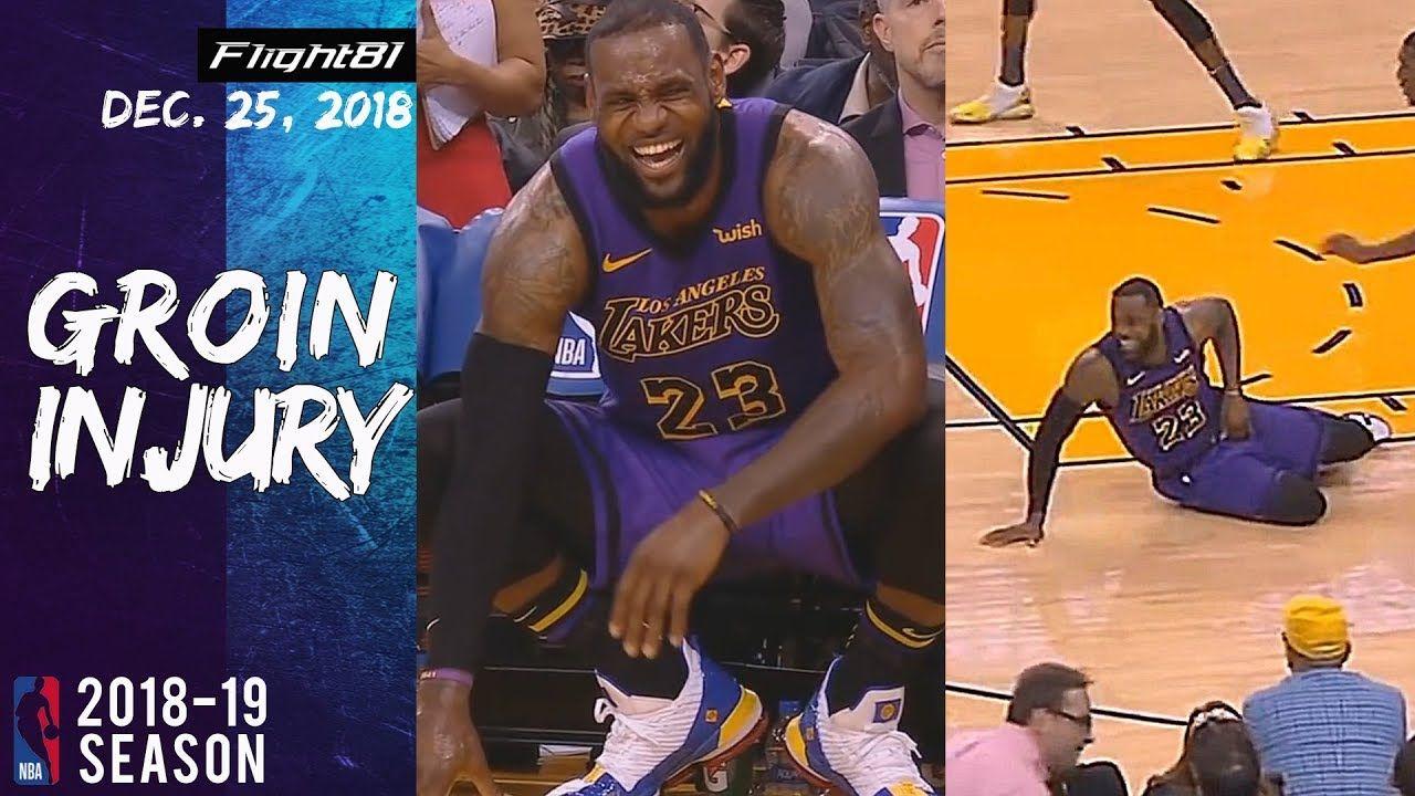 LeBron James Groin Injury in XMas Warriors vs Lakers 2018 25 12 Game ... cd7b34fcb