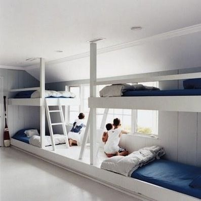 Great Idea for any Bach! Bunk beds for the kiddies room but still look fresh and tidy!
