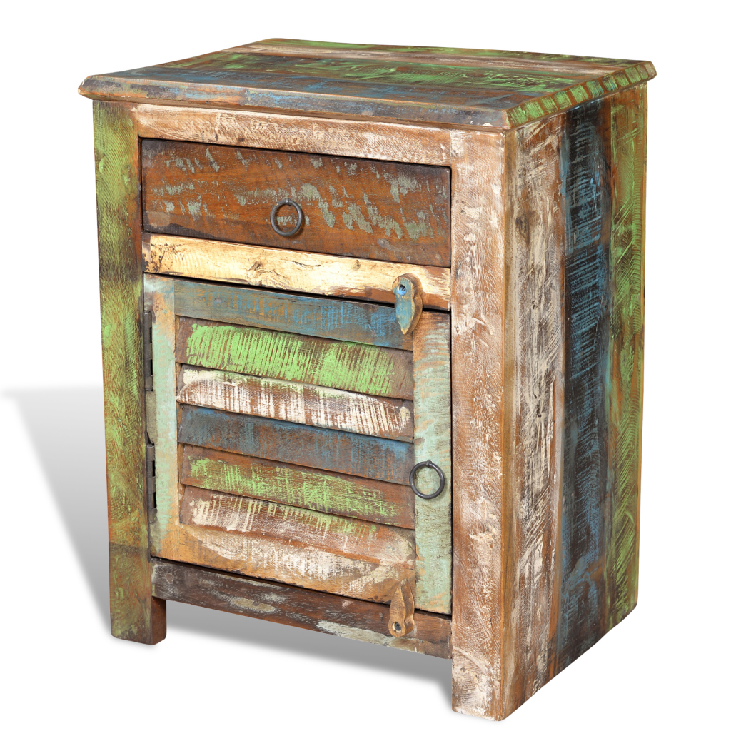 Reclaimed wood cabinet multicolour end table drawer door