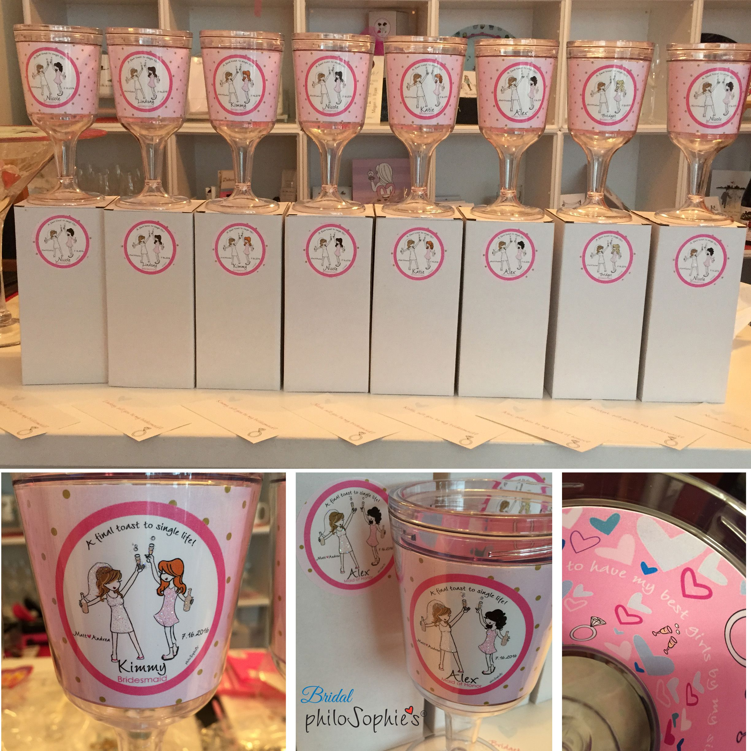 Ask your favorite girls to be in your bridal party with these fun personalized wine tumbler by philoSophie's.  Great to use at your bachelorette and wedding.
