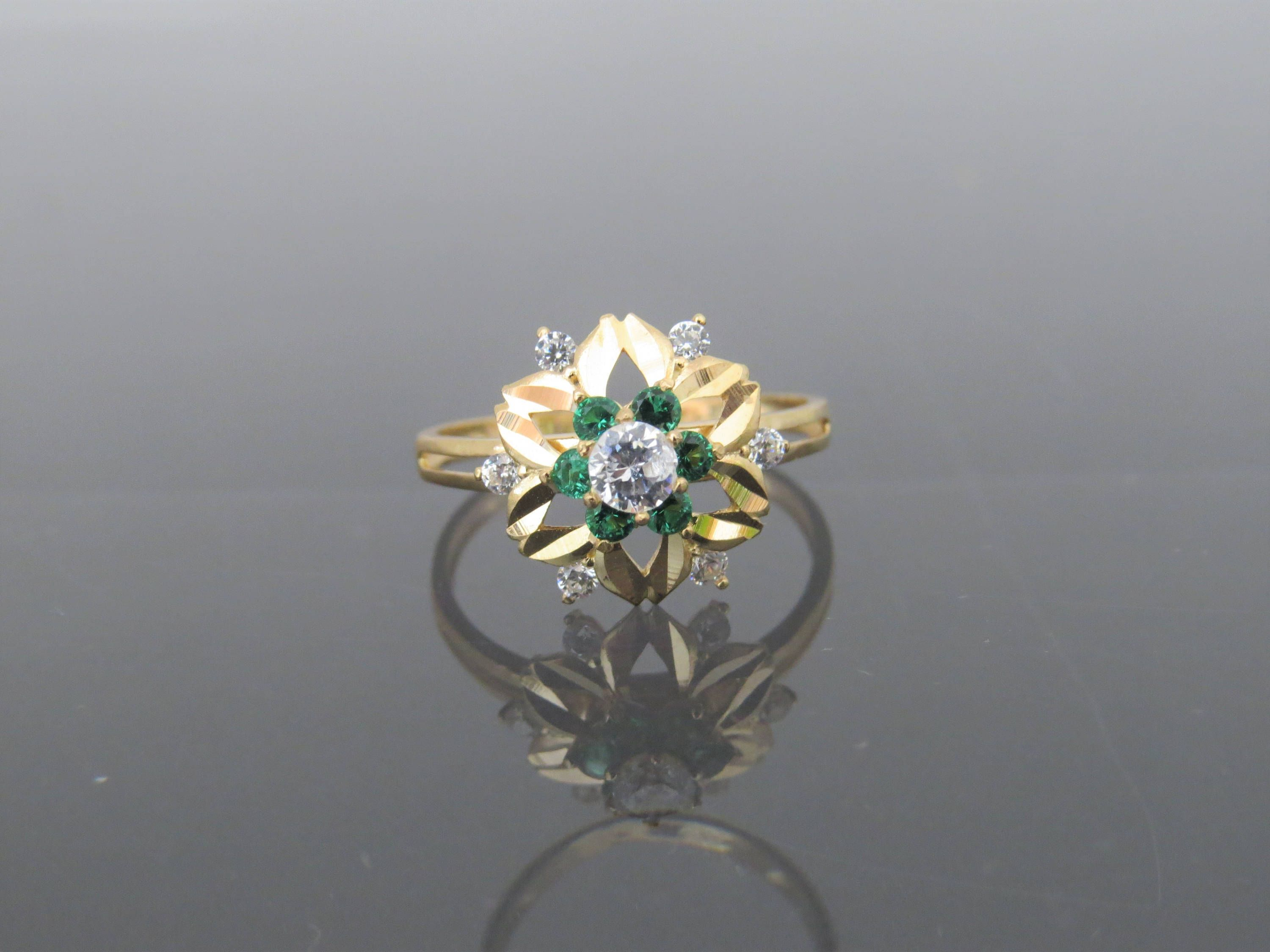 flower vintage emerald topaz gold yellow ring white size solid pin