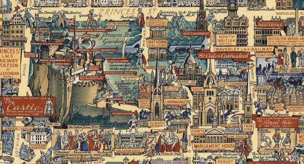 Old Map of Edinburgh Pictorial Vision of Edinburgh Auld
