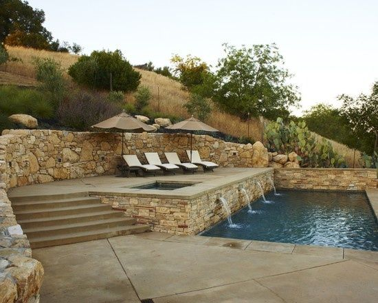 California steep slope retaining wall ideas google - Building a swimming pool on a slope ...