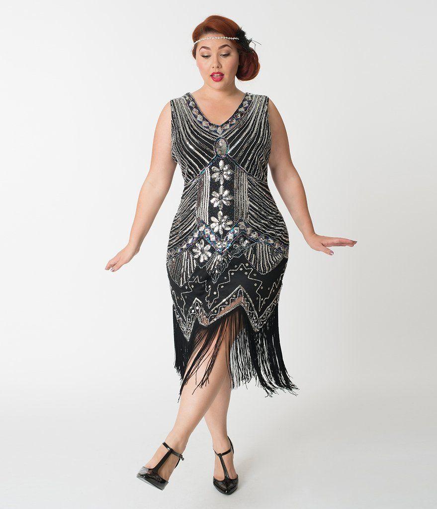 402b62615ff Unique Vintage Plus Size 1920s Deco Silver   Black Veronique Fringe Flapper  Dress