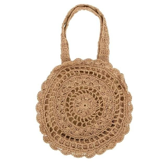 Large Flower Shaped Straw Beach Bag Vintage Handmade Woven
