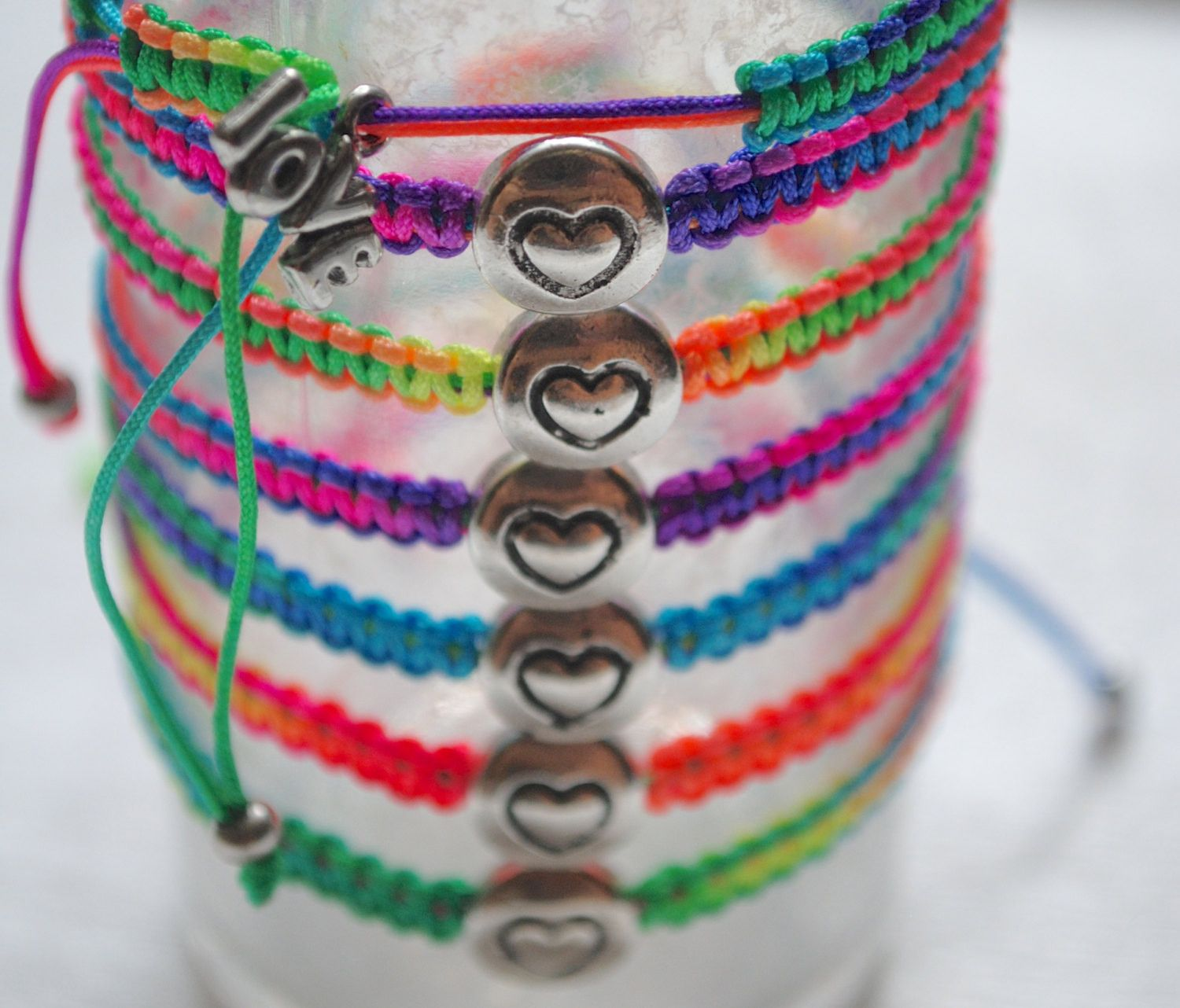 Handmade Macrame Bracelet with Silver Charm, Great Gifts or Party Favors