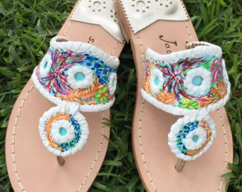 Hand Painted Sandals in the style of Jack Rogers and by luckyleaf