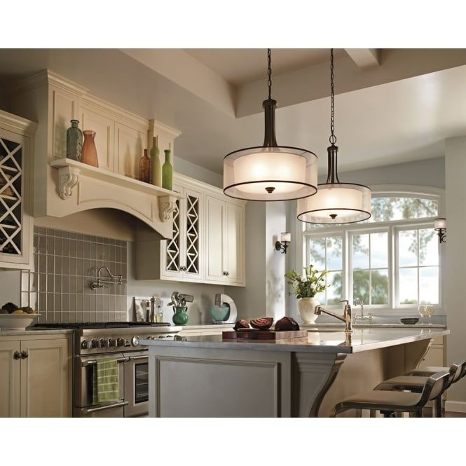 Kichler Lacey Gl Drum Pendant With Mission Bronze Metalwork From The Lighting Australia Collection Of