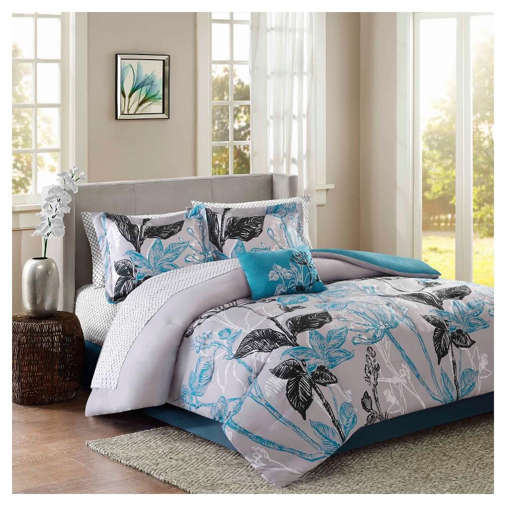 Kendall 9 Piece Comforter Set With Sheet Set Aqua King