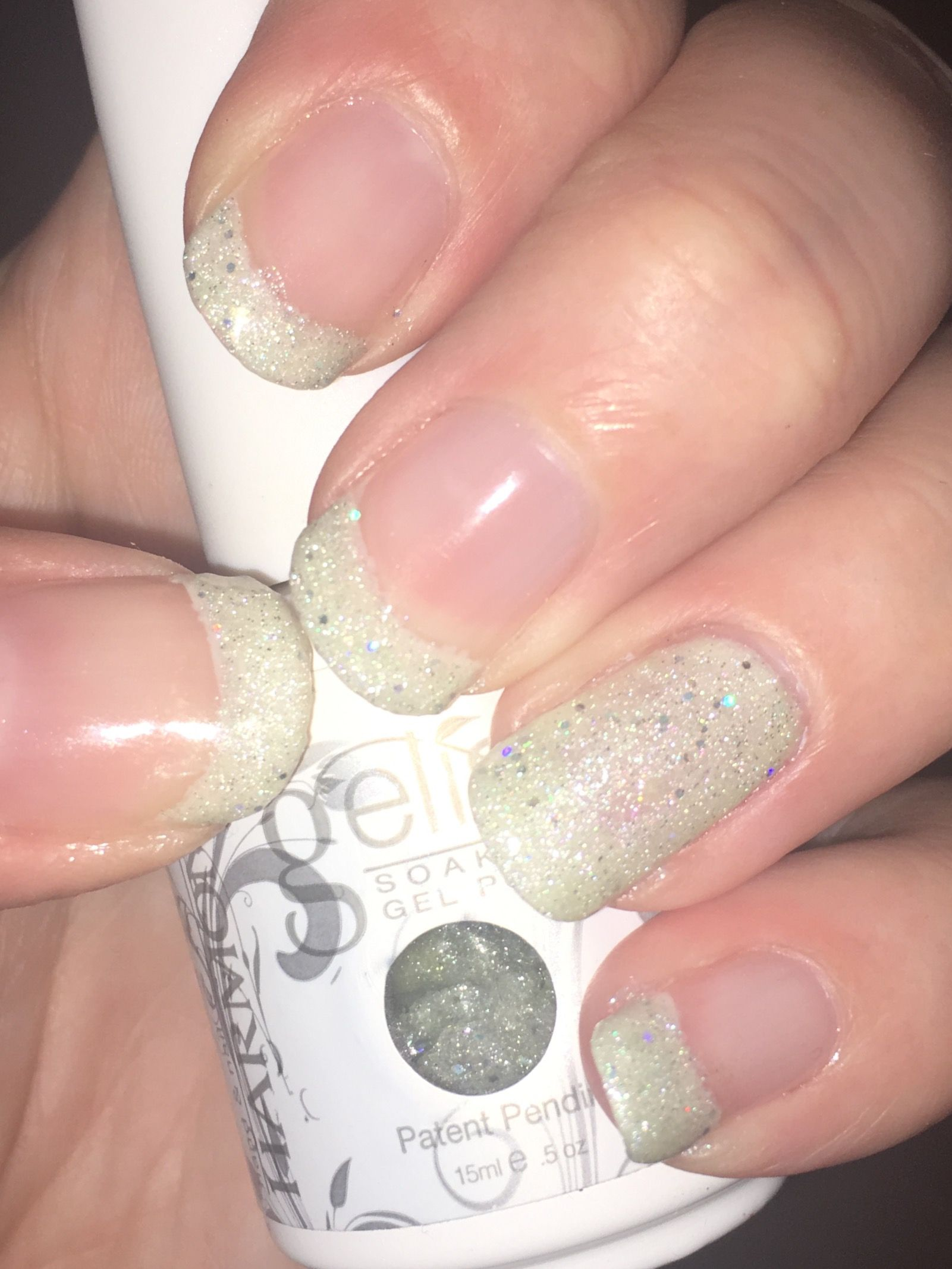 Simple nail art (Gelish - Little Miss Sparkle & Simple Sheer) | Nail ...