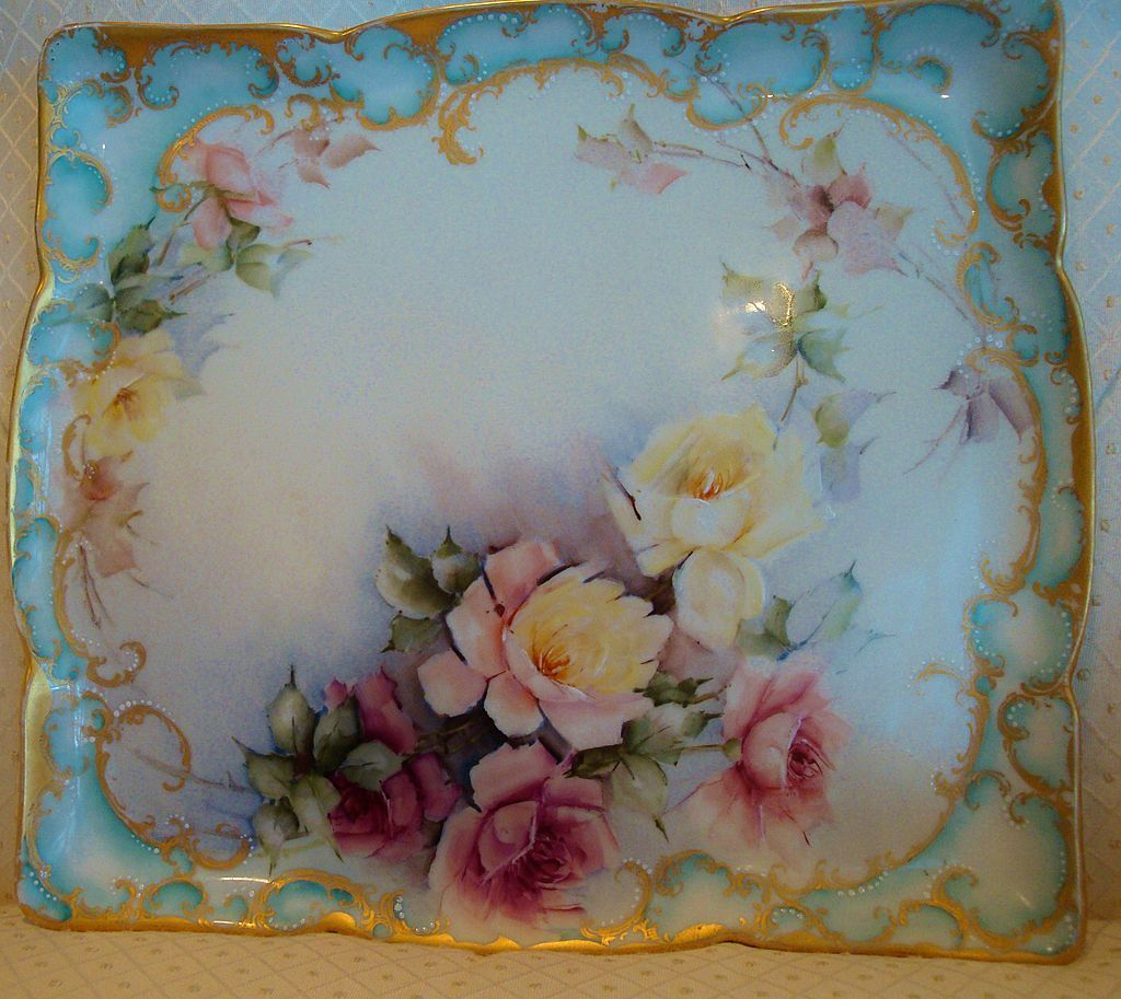 Gorgeous Antique Limoges Hand Painted Tray With Multi Colored Roses, Marked With The JPL Mark And Signed By The Artist - French    c. 1891-1932