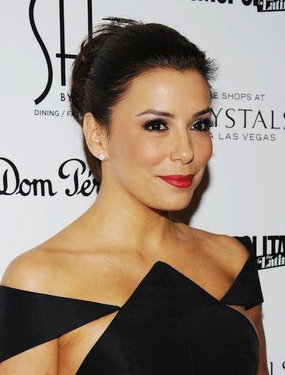 Pin by Kate Rosales on Updo/Bun Hairstyle | Black strapless dress, Bun hairstyles, Eva longoria