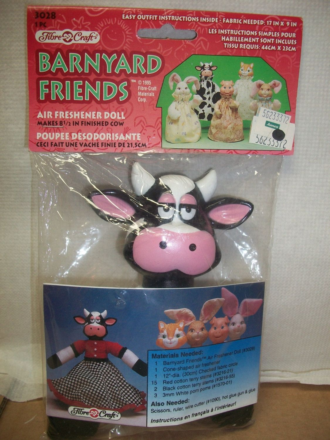 Fibre craft air freshener dolls - Rare Fibre Craft Barnyard Friends Animal Air Freshener Doll Spotted Cow By