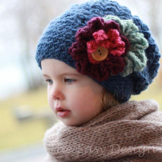 Crochet pattern, Patron de crochet –Emma Slouchy Beanie Hat Bonnet ...