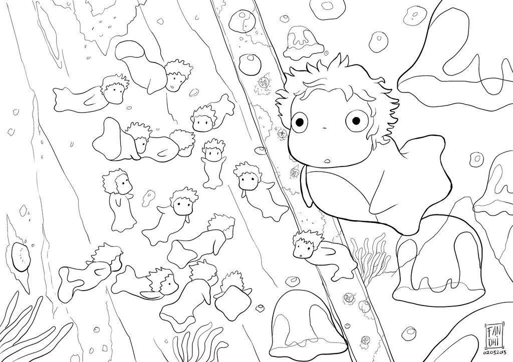 Ponyo By Fandhiwijanarko D5wptc2 1024 724 Coloring Pages Cool Coloring Pages Disney Coloring Pages Miyazaki Art
